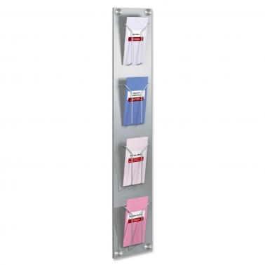 Wand-Prospekthalter Art-Line: mit 4 DIN-lang Fächern