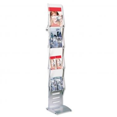 Prospektständer Foldable: mit 4 Ablageschalen für DIN A4 faltbar / tragbar