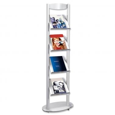 """Prospektständer """"STEEL-DESIGN"""", fahrbar, für 4  x DIN A4 durchgehende Ablagen"""