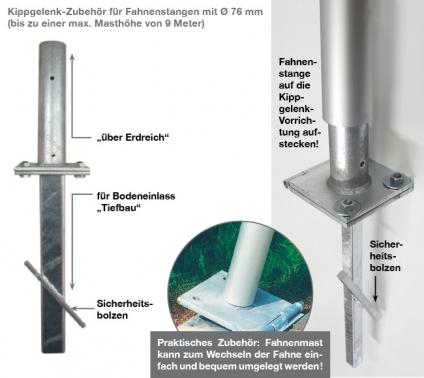 Kippgelenk-Zubehör für Fahnenmasten mit Ø 76 mm, bis max. Höhe: 9 m