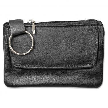 Schlüsseltasche aus echtem Leder, zusätzliches Fach für Kleingeld