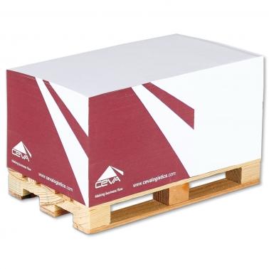 Zettelblock mit Mini-Holzpalette, 4-seitig bedruckt mit 1-Farb-Siebdruck