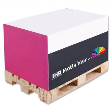 Zettelblock mit Mini-Holzpalette, 4-seitig bedruckt inkl. Digitaldruck