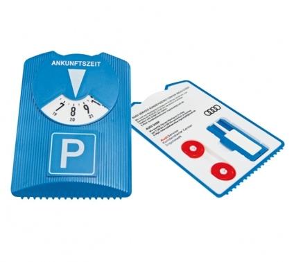 """Parkscheibe """"Design"""" pfiffiges Design, mit Reifenprofilmesser Eiskratzer & 2 Chips"""