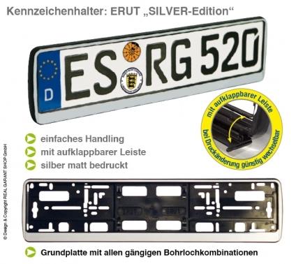 """Kennzeichenhalter ERUT  """"Silver-Edition"""": mit Werbeleiste zum Aufklappen"""