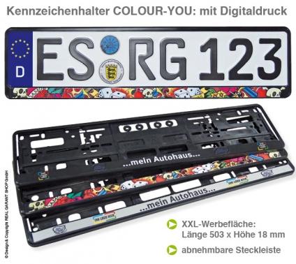 Kennzeichenhalter Colour-You: Werbeleiste mit Ihrem Druck, mit  Digitaldruck