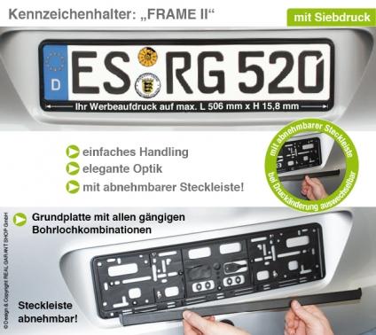 Kennzeichenhalter Frame II: Grundplatte mit Steckleiste (leicht vorgebogen)