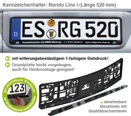 Kennzeichenhalter Rondo-Line I mit Steckleiste, vorgebogen