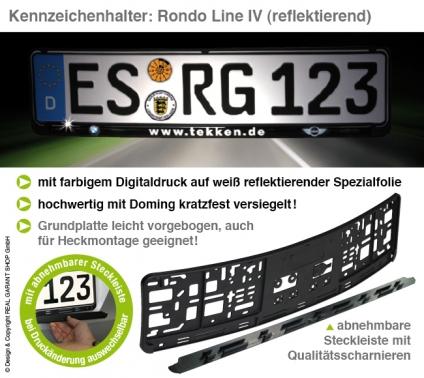 Kennzeichenhalter RONDO-LINE IV: mit Steckleiste (L 520mm) (reflektierend)