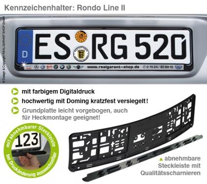 Kennzeichenhalter RONDO-LINE II: mit Steckleiste (L 520mm) Digitaldruck+Doming