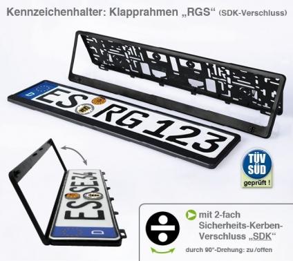 """Kennzeichenhalter mit Sicherheits-Kerbenverschluss S-D-K Klapprahmen """"RGS"""""""
