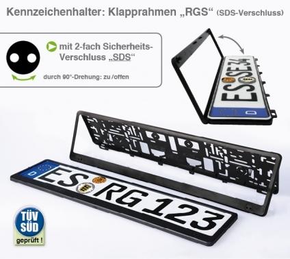"""Kennzeichenhalter mit Sicherheits-Schlüsselverschluß S-D-S Klapprahmen """"RGS"""""""