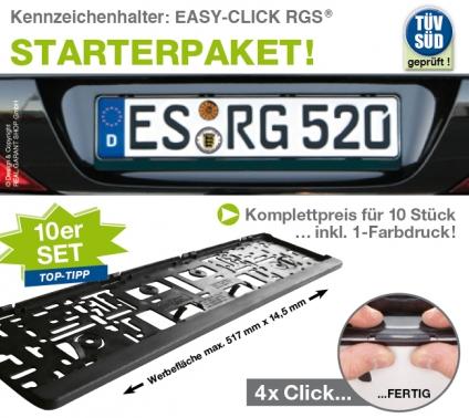 Kennzeichenhalter EASY-CLICK RGS ®: 10er-Set, 1-Farbdruck
