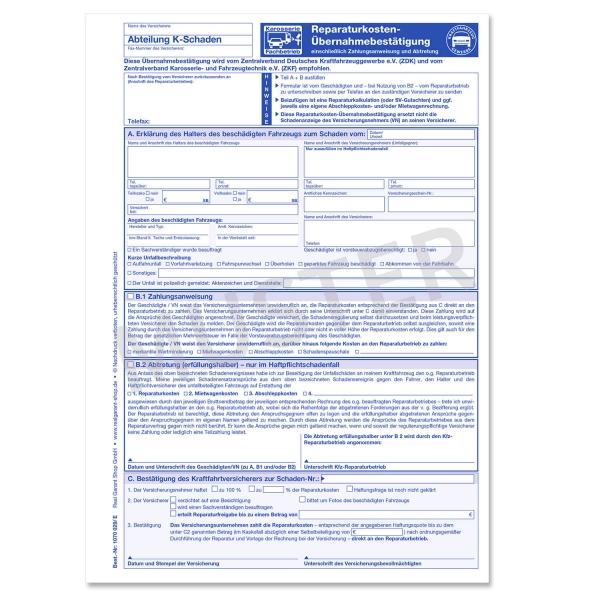 Reparaturkosten Übernahmebestätigung, 3-fach (100 Stück)