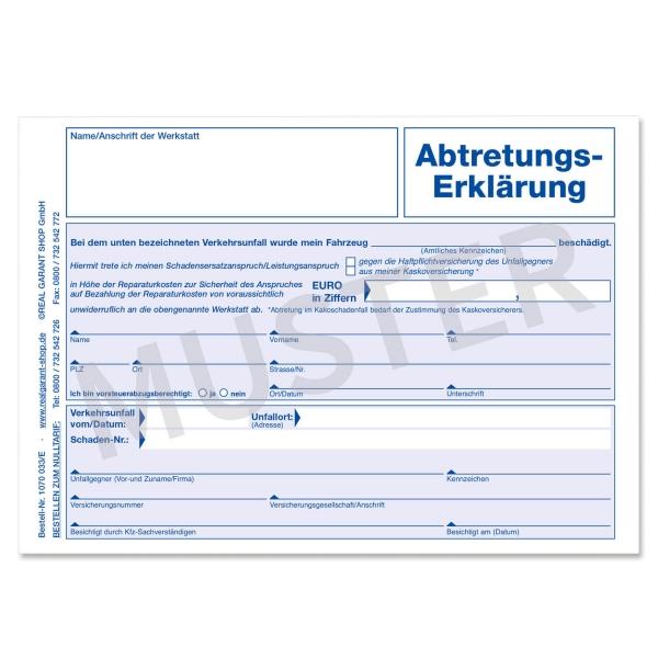 Abtretungserklärung für voraussichtliche KFZ-Reparaturkosten