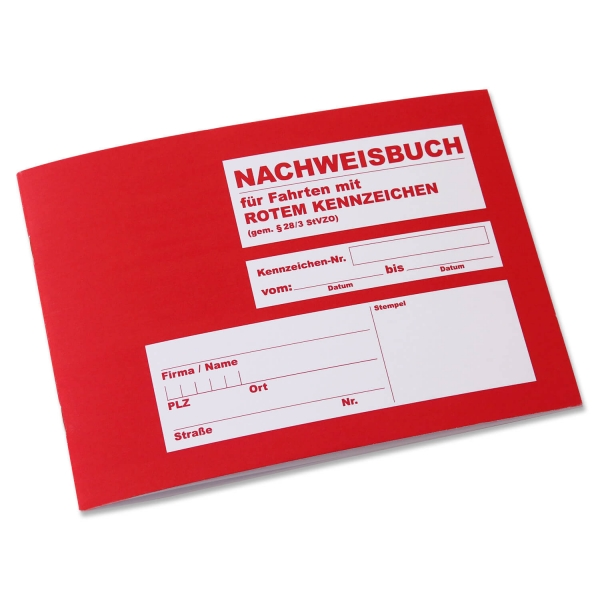 Nachweisbuch DIN A5 für Fahrten mit rotem Kennzeichen