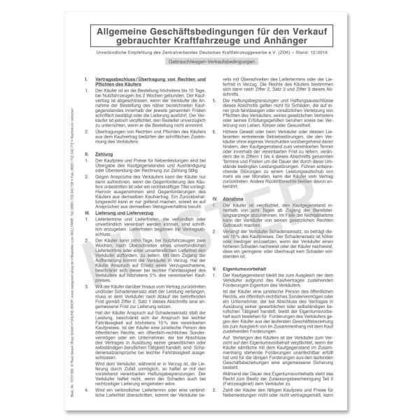 Geschäftsbedingungen für Gebrauchtwagenverkauf, AGB 12/2016