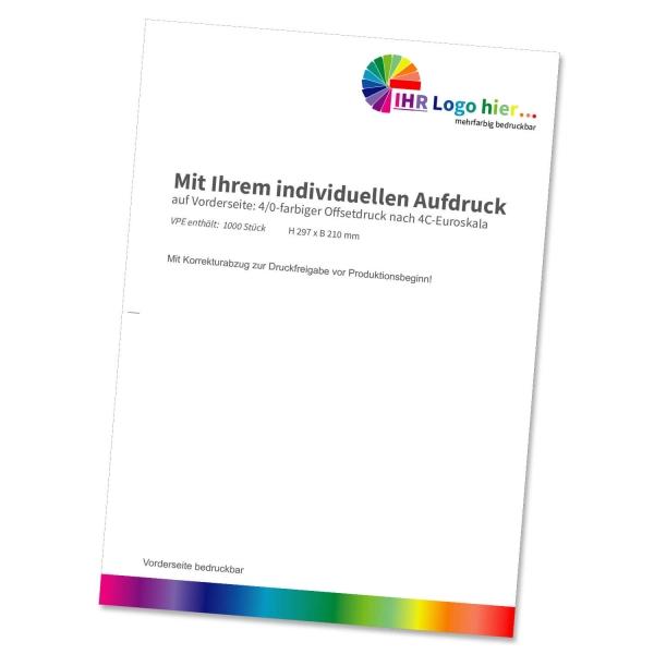 Briefbögen DIN A4 mit Individualdruck, 4/0-farbig bedruckt  4C-Euroskala