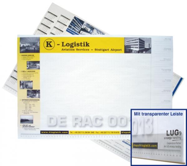 Schreibtischauflage Block mit 50 Blatt, Einzelblattdruck 2/0-farbig bedruckt