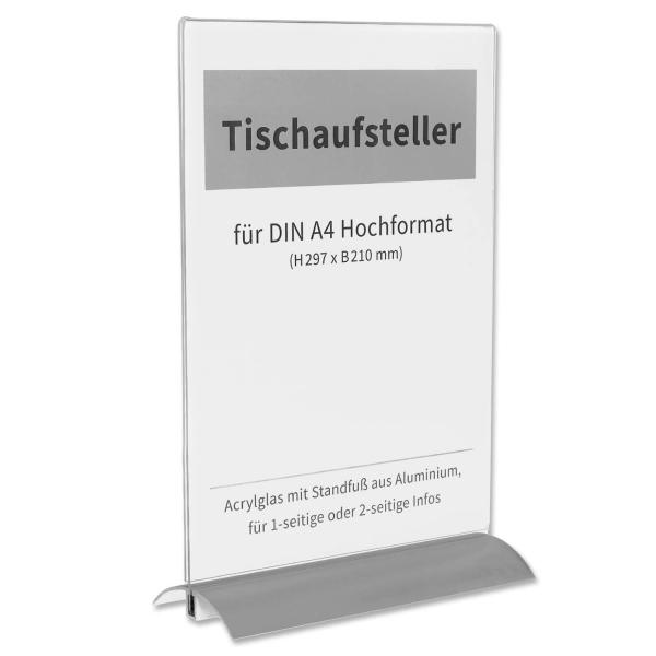 Tischaufsteller A4 mit Alu-Standfuß: für 2-seitige Infos