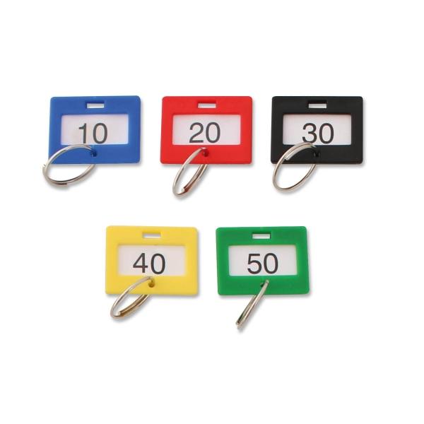 Schlüsselanhänger nummeriert von 1 bis 50, mit Ring