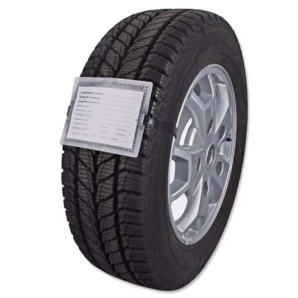 Rad-Reifenanhänger mit Rasterschlaufe L 110 cm, PVC-Hülle & Etikett