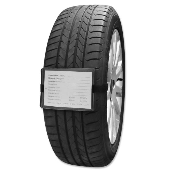 Rad-Reifenanhänger mit Klettverschluss, PVC-Hülle, Etikett