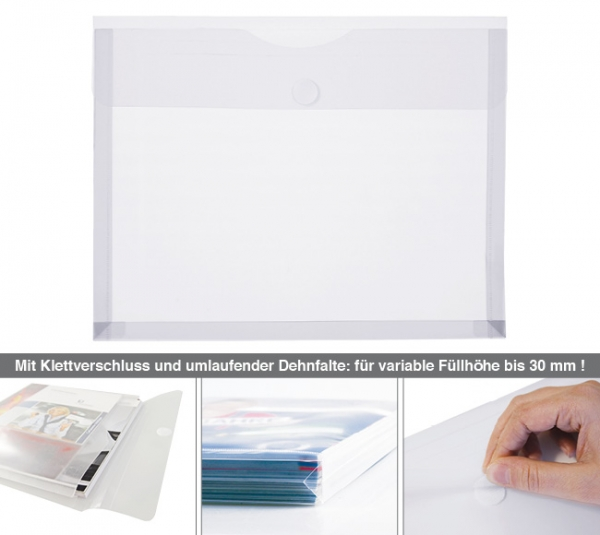 Dokumententasche A4 mit Dehnfalte, Klettverschluß