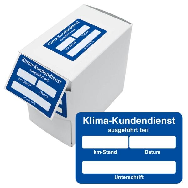 Kundendienst-Etikett Klima-Kundendienst bei Datum / km-Stand in Spenderbox