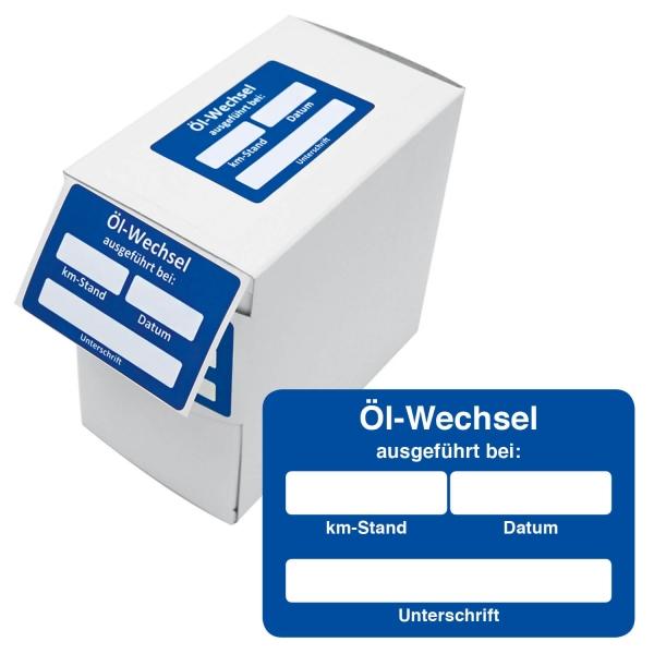 Kundendienst-Etikett Ölwechsel ausgeführt bei km-Stand in Spenderbox