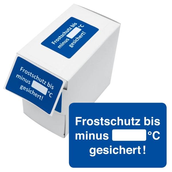 Kundendienst-Etikett Frostschutz bis Minus °C: zum Ausfüllen in Spenderbox