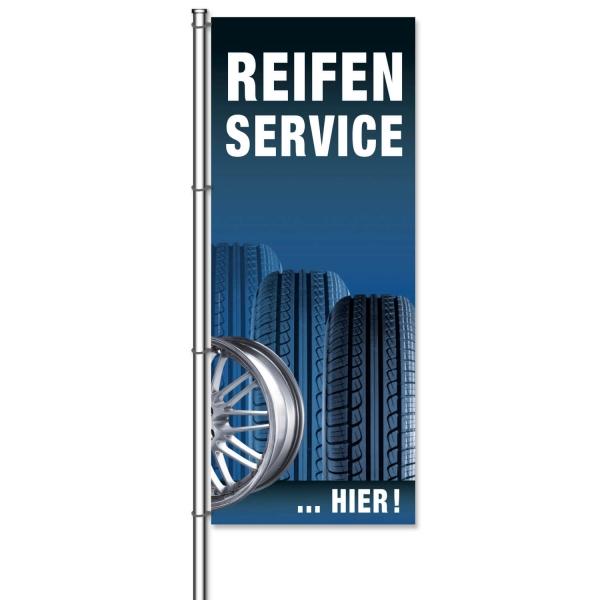 Fahne Reifenservice Hier Reifenservice: Motiv Reifen & Felge  H 300 x 120 cm