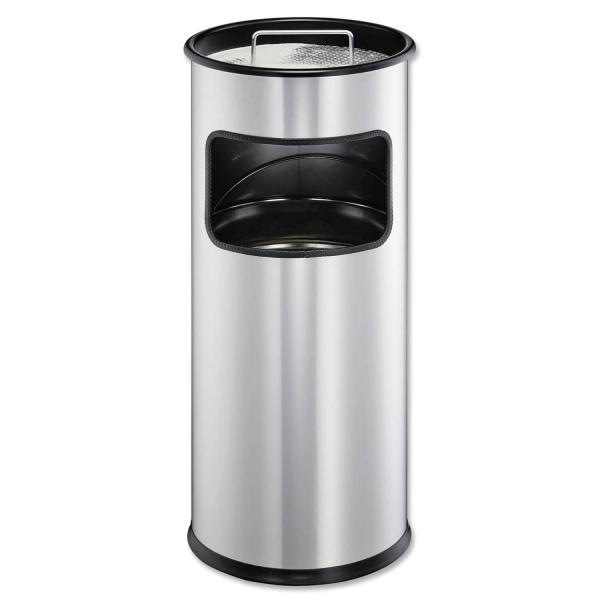 Standascher mit Abfallkorb aus Metall, rund  Standascher
