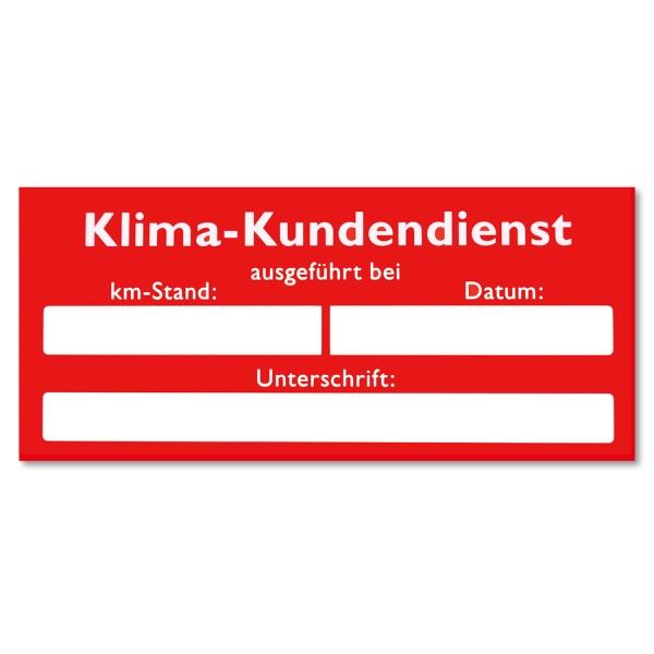 Serviceaufkleber Klima-Kundendienst: bei Datum / km-Stand