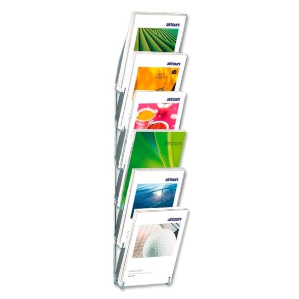 Prospekthalter Concept 6: zur Wandmontage, 6 Fächer, für DIN A4 Prospekte