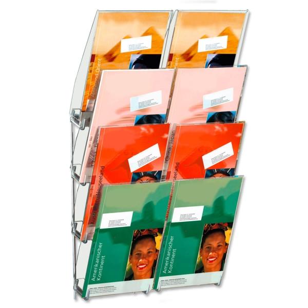 Prospekthalter Concept 8: zur Wandmontage, 8 Fächer, für DIN A4 Prospekte