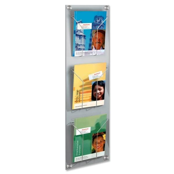 Prospekthalter Art-Line: mit 3 Fächer, zur Wandmontage für DIN A4 Prospekte