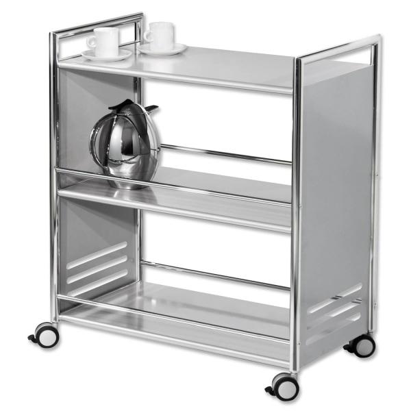 Servierwagen Steel 3 Etagen, fahrbar, mit Feststellbremse  Silber
