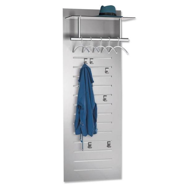 Wandgarderobe SetW: Garderobe mit Kleiderbügel/Haken/Ablage