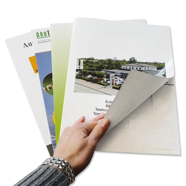 Präsentationsmappe für DIN A4-Dokumente, mit Stecklasche für Visitenkarte