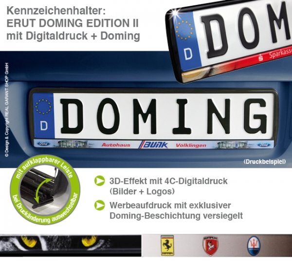 "Kennzeichenhalter ERUT ""Doming Edition II"", Digitaldruck auf Klappleiste"