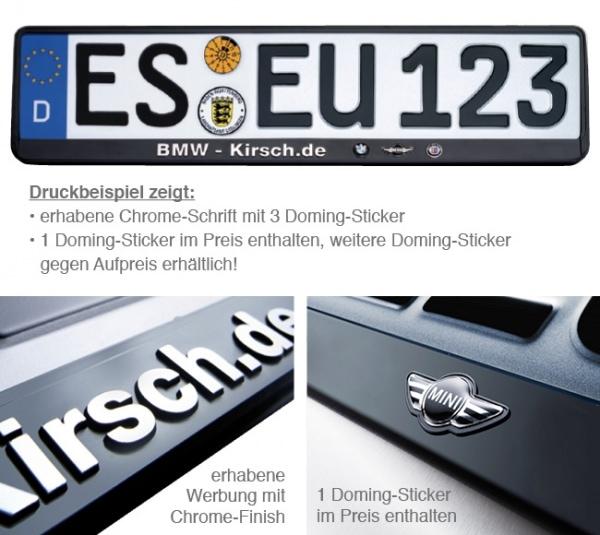 Kennzeichenhalter Erut de Luxe: erhabene Schrift, 1 Doming mit ...