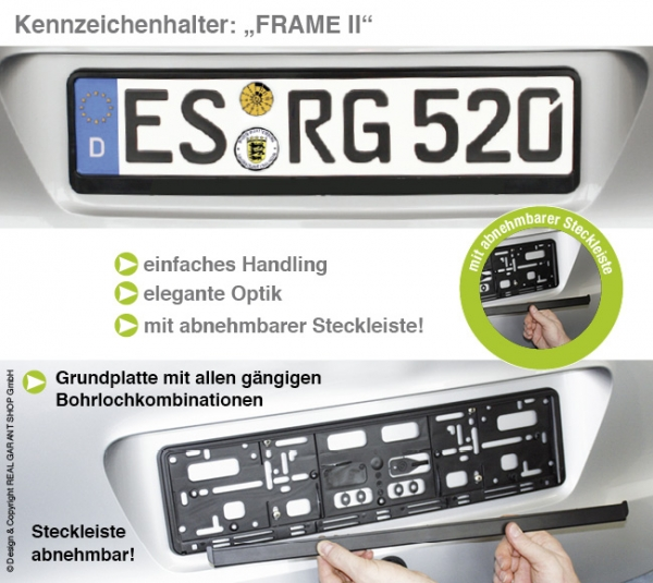 Kennzeichenhalter Frame II: Grundplatte mit Steckleiste (leicht vorgebogen) Blanko