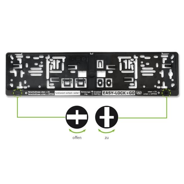 Kennzeichenhalter EASY-LOCK & GO: Drehverschlüsse integriert mit 1 ...