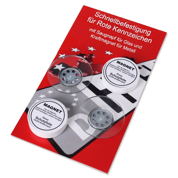 """Schnellbefestigung für """"Rote Kennzeichen"""": 2 Powermagnete und 2 Sauger im Set"""