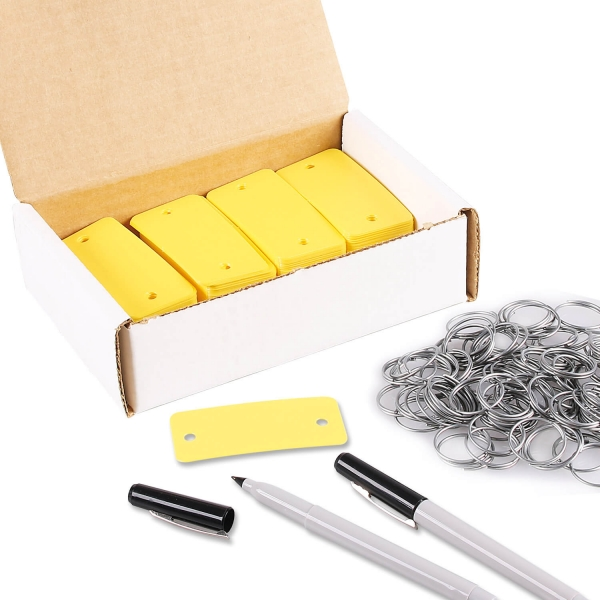 schl sselanh nger pvc 200 set mit ringe 2 spezialstifte gelb. Black Bedroom Furniture Sets. Home Design Ideas