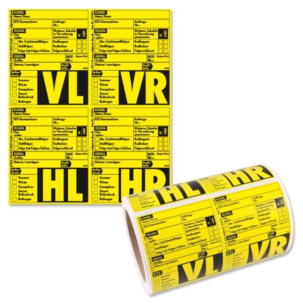 Rad-/Reifenaufkleber Reifenetiketten 4-fach Satz: VL/VR/HL/HL