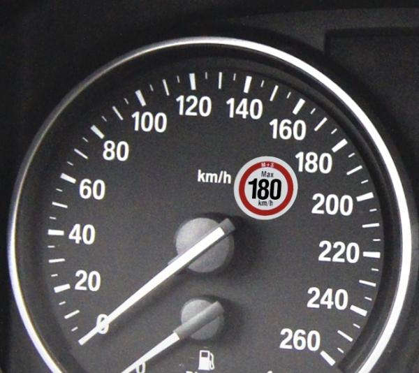 Hinweisetikett zulässige Höchstgeschwindigkeit 180 km/h  180 km/h