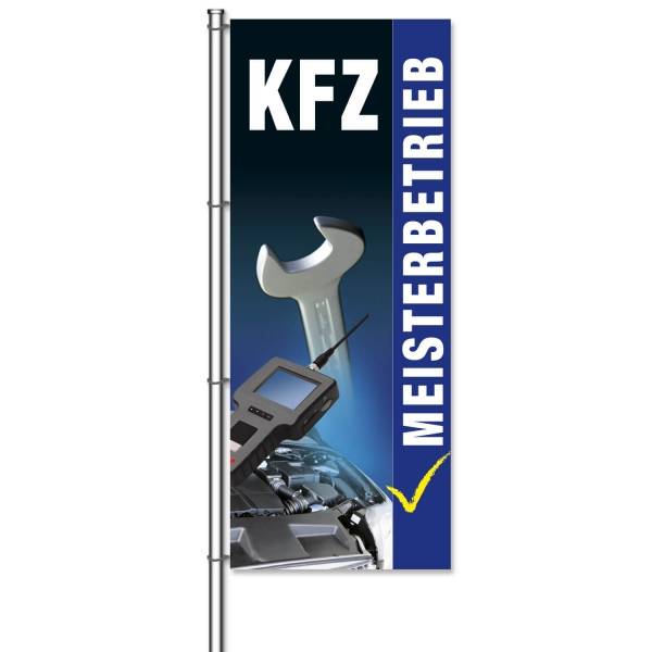 Fahne KFZ-Werkstatt Motiv: KFZ-Meisterbetrieb mit Bilder  H 300 x B 120cm