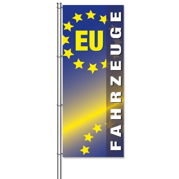 Fahne EU-Fahrzeuge für KFZ-Handel mit EU-Fahrzeugen  H 300 x B 120cm